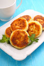 Syrniki cottage cheese pancakes fritters of cottage cheese traditional ukrainian and russian cuisine Royalty Free Stock Image