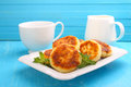 Syrniki cottage cheese pancakes fritters of cottage cheese traditional ukrainian and russian cuisine Royalty Free Stock Photo