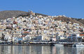 Syros island in greece ermoupolis town at Stock Images
