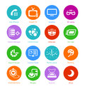 System flat icons set iv metro style round custom versions Stock Photo