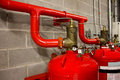 System of a gas fire extinguishing the valve Royalty Free Stock Images