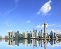 Szanghaj punkt zwrotny linia horyzontu przy Nowym miasta krajobrazem Zdjęcie Stock