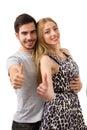 Szczęśliwa pary miłość excited uśmiechniętego mienie kciuka up gest kawaler Zdjęcia Royalty Free