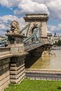 The szechenyi chain bridge is a beautiful decorative suspension budapest july magnificent in budapest lanchid that spans river Stock Photography