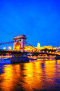 Szechenyi chain bridge in Budapest, Hungary Royalty Free Stock Photo