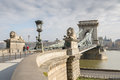 The Szechenyi Chain Bridge in Budapest, Hungary. Royalty Free Stock Photo