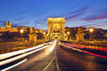 Szechenyi chain bridge budapest image of in during sunset Royalty Free Stock Images