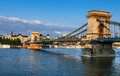 Szechenyi chain bridge in budapest or lanchid is the first stone over danube one of the symbolics of hungary Stock Images