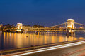 Szechenyi Chain Bridge in Budapest at Night Royalty Free Stock Photo