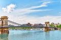 Szechenyi Chain Bridge at morning time. Budapest Royalty Free Stock Photo