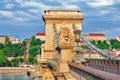 Szechenyi Chain Bridge at morning time. Royalty Free Stock Photo