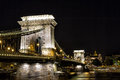 Szechenyi Chain Bridge at night in the city of Budapest, Hungary Royalty Free Stock Photo