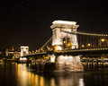 Szechenyi Chain Bridge at Night Royalty Free Stock Photo