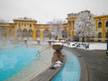 Szechenyi thermal bath in budapest at snowy winter day hungary Stock Images