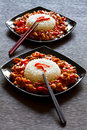 Szechuan chicken and rice Royalty Free Stock Photo