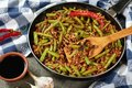 Szechuan Stir Fried Green Beans with ground pork Royalty Free Stock Photo