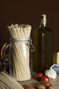 Szene with italien ingredients for an italian meal all you need for cooking Stock Photo