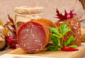 The Szoldra  Polish ham sausage Royalty Free Stock Images