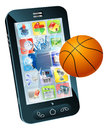 Téléphone portable de bille de basket-ball Photo stock