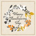 Vector holiday cards template wit handwriting happy thanksgiving day and leaf wreath. design for gift cards, backgrounds, p