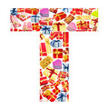 T Letter made of giftboxes Royalty Free Stock Photography