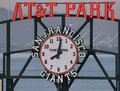 AT&T Park sign and clock Stock Photos