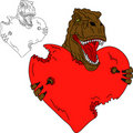 T rex with heart Stock Images