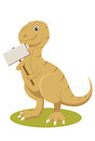 T-rex smiling with sign Royalty Free Stock Image