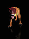 T rex tyrannosaurus dinosaur toy figure against black background with reflection Royalty Free Stock Photos