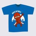 T-shirt Blue Print Design Superhero Ninja Rock and Roll