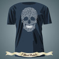 T-shirt design with abstract skull made of mehndi pattern