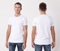 T-shirt design and people concept - close up of young man in blank white t-shirt, shirt, front and rear isolated. Clean shirt mock Royalty Free Stock Photo