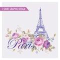 T-shirt Floral Paris Graphic Design