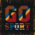 T-shirt GO sports, sports emblem, leisure Royalty Free Stock Photo
