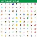 100 t-shirt icons set, cartoon style