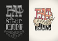 T shirt lettering set of designs based on a handwritten editable vector illustration Stock Image