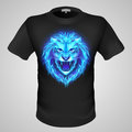 T shirt masculin avec la copie de lion Image stock