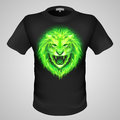 T shirt masculin avec la copie de lion Images stock