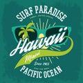 T-shirt print as hawaii banner, palms, sunglasses