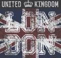 T-shirt Printing design, typography graphics, London United kingdom, grunge flag vector illustration Badge Applique Label