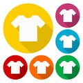 T-shirt sign icon, Clothes symbol set with long shadow