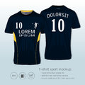 T-shirt sport design for football club, Front and back view soccer jersey uniform