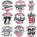 T-shirt stamp graphic set. Sport wear typography emblem Royalty Free Stock Photo