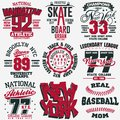 T-shirt stamp graphic set. Sport wear typography emblem