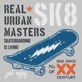 T-shirt typography design, skateboard printing graphics, typographic skateboarding vector illustration, Urban skaters graphic desi Royalty Free Stock Photo