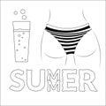 T shirt typography buttocks summer black Royalty Free Stock Photo