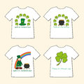 T shirts with st patrick s day prints leprechaun leprechaun s hat pot of gold and clover set four illustration Stock Photography