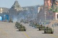 T tanks on vasilevsky descent in moscow may russian army military vehicles cruise through downtown after rehearsal for the victory Royalty Free Stock Photography