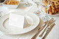 Tabelware and invitation not restaurant tableware with note Royalty Free Stock Images