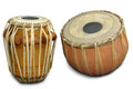 Tabla indian music instrument set of contrassting percussion instruments used in behind folk and sufi poetry and now became a part Stock Photos